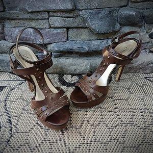 Guess Brown Platform Sandals